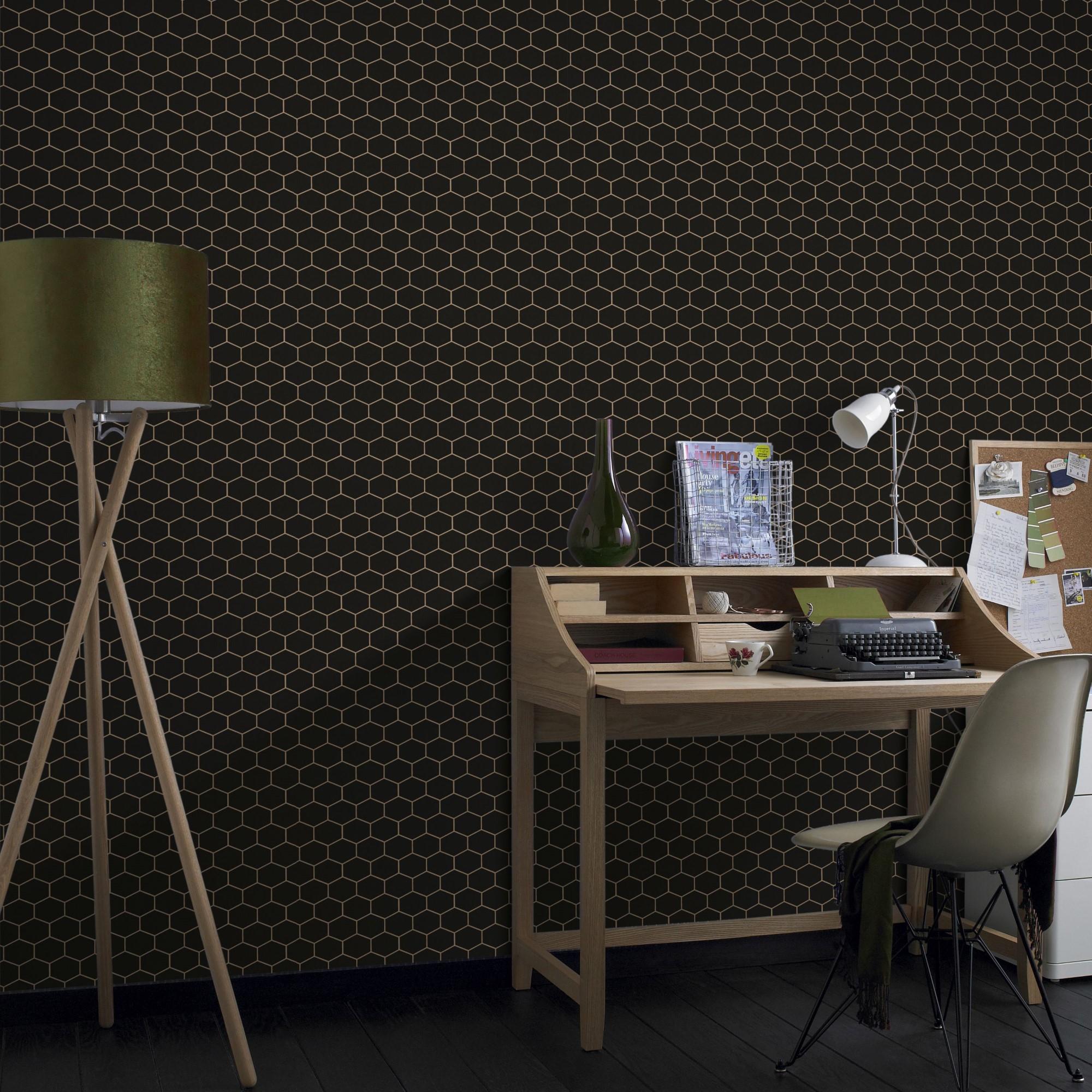Papier peint intissé hexagone geo grainé noir 1005x52cm