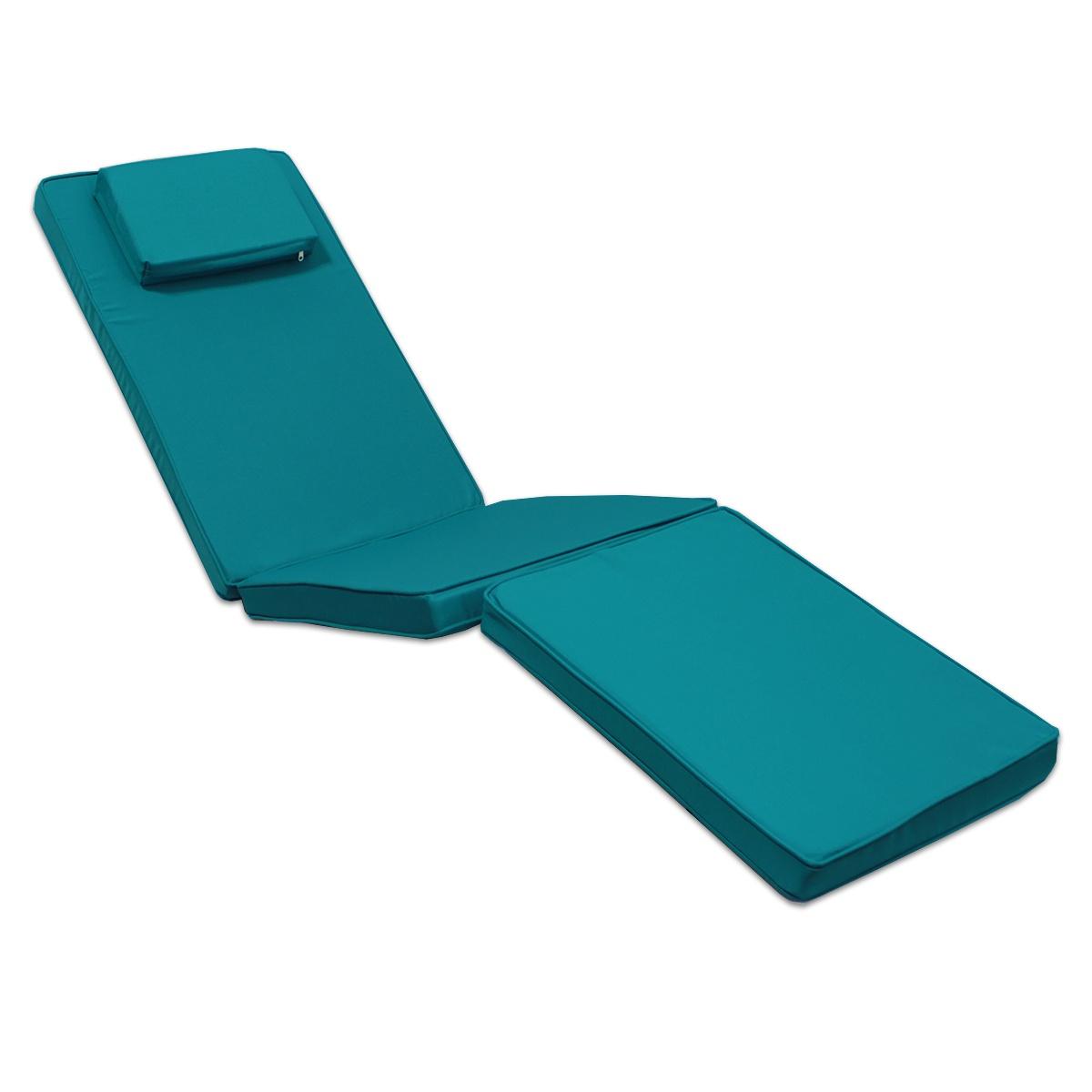 Matelas bleu canard pour chaise longue