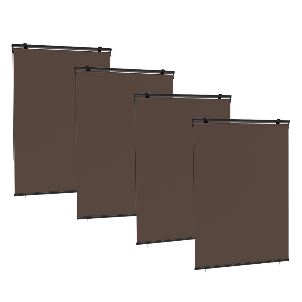 Lot de 4 stores enrouleur extérieur polyester taupe 120x225cm