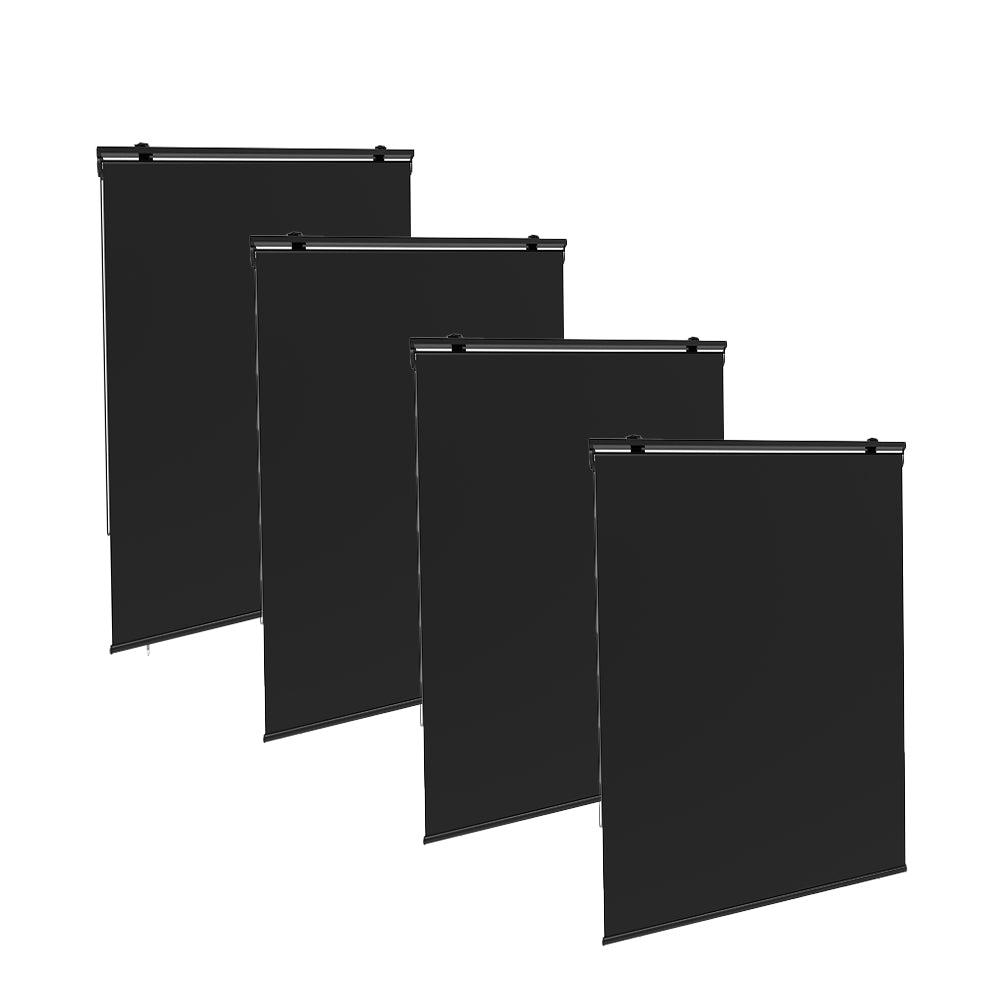 Lot de 4 stores enrouleur d'extérieur polyester gris 120x225cm