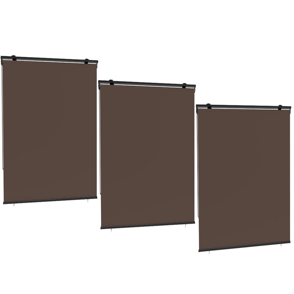 Lot de 3 stores enrouleur extérieur polyester taupe 120x225cm