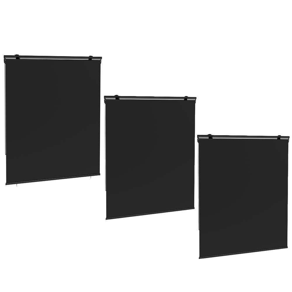 Lot de 3 stores enrouleur d'extérieur polyester gris 120x225cm