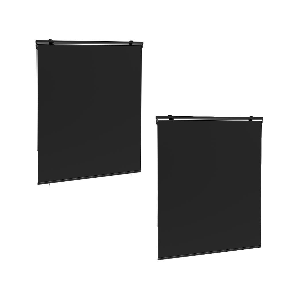 Lot de 2 stores enrouleur d'extérieur polyester gris 120x225cm