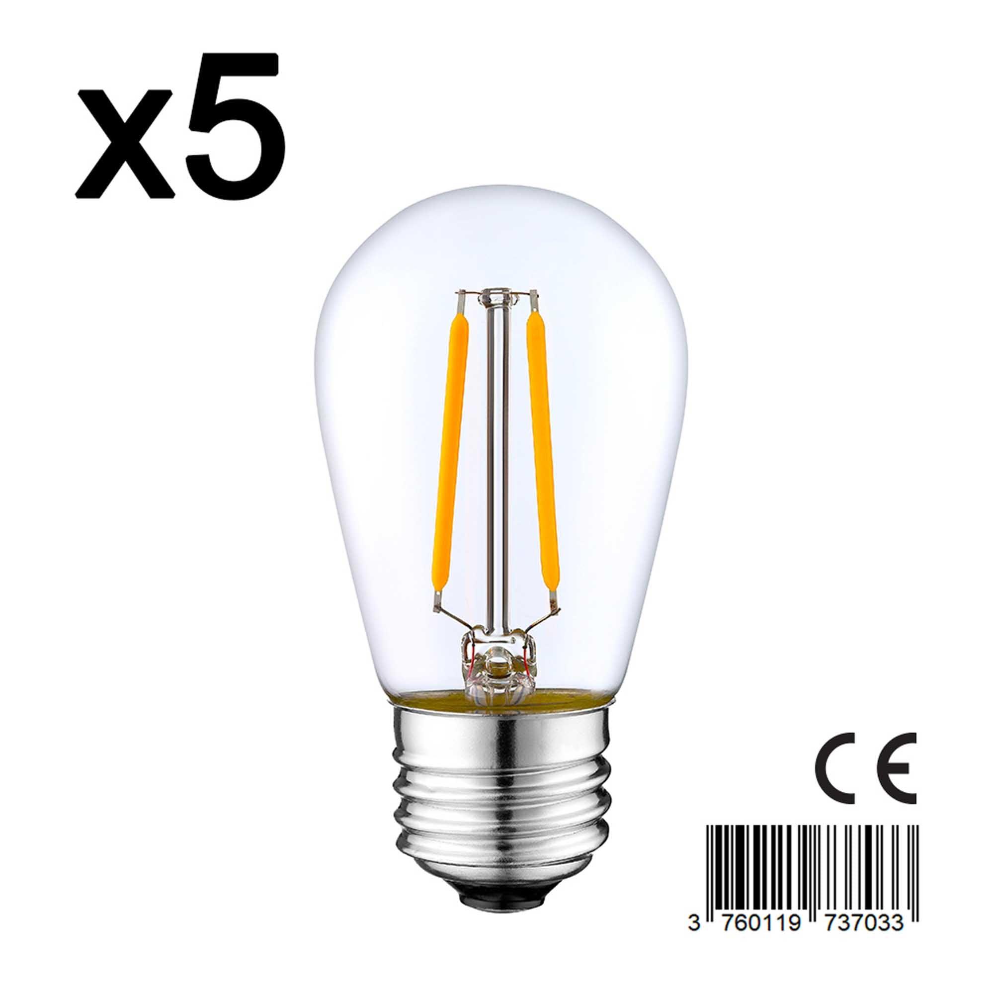 Lot de 5 ampoules filament LED E27 blanc chaud E27 S45 2W H10cm