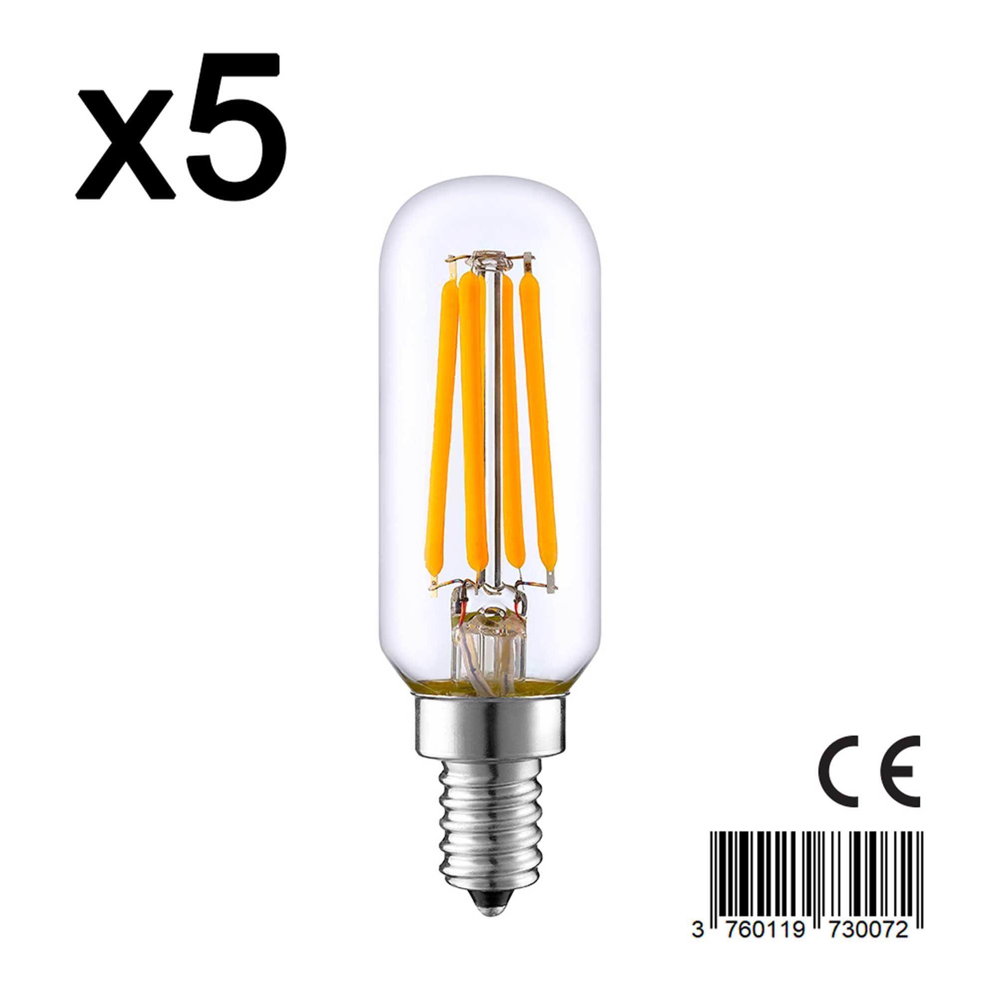 Lot de 5 ampoules LED verre transparent 4W H9 cm