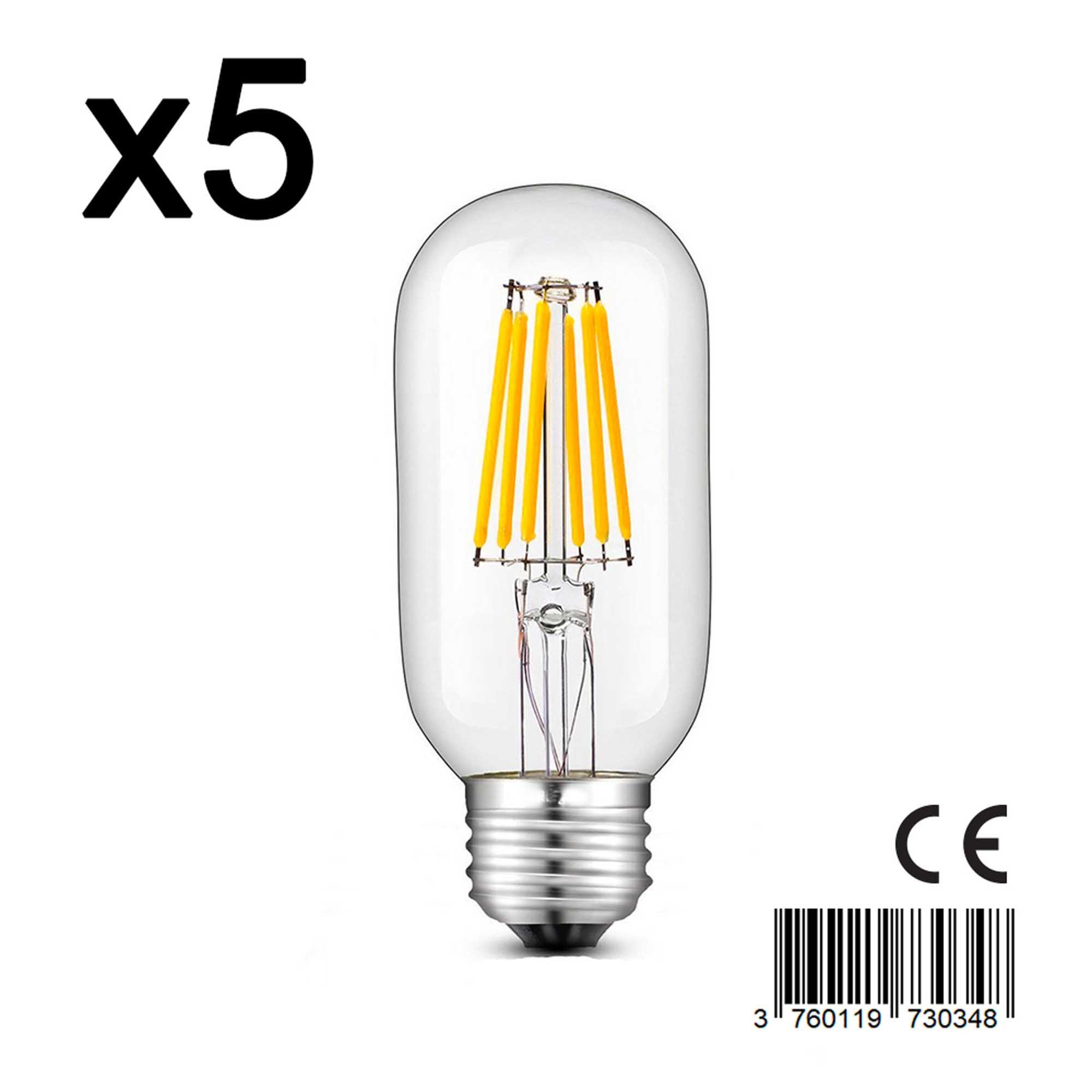 Lot de 5 ampoules LED verre transparent 6W H12cm