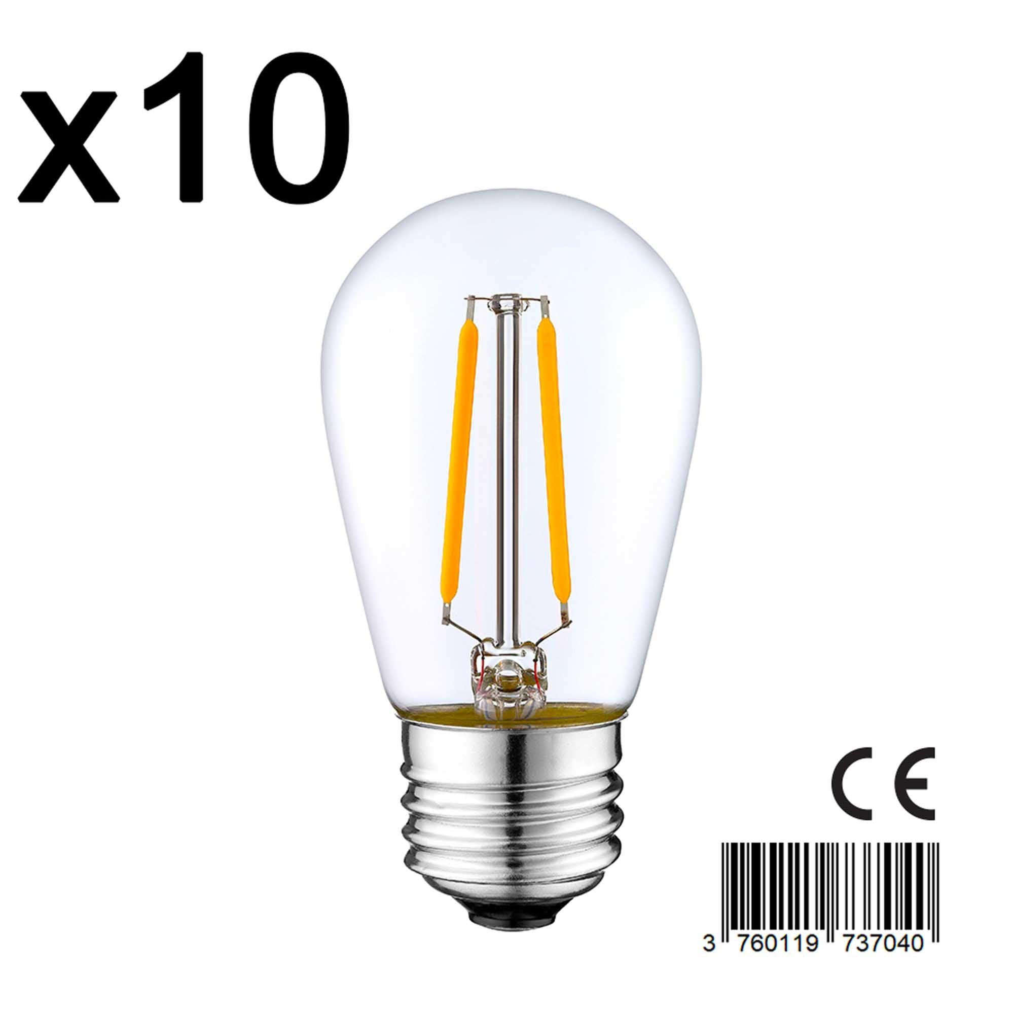 Lot de 10 ampoules verre transparent 2w H10cm