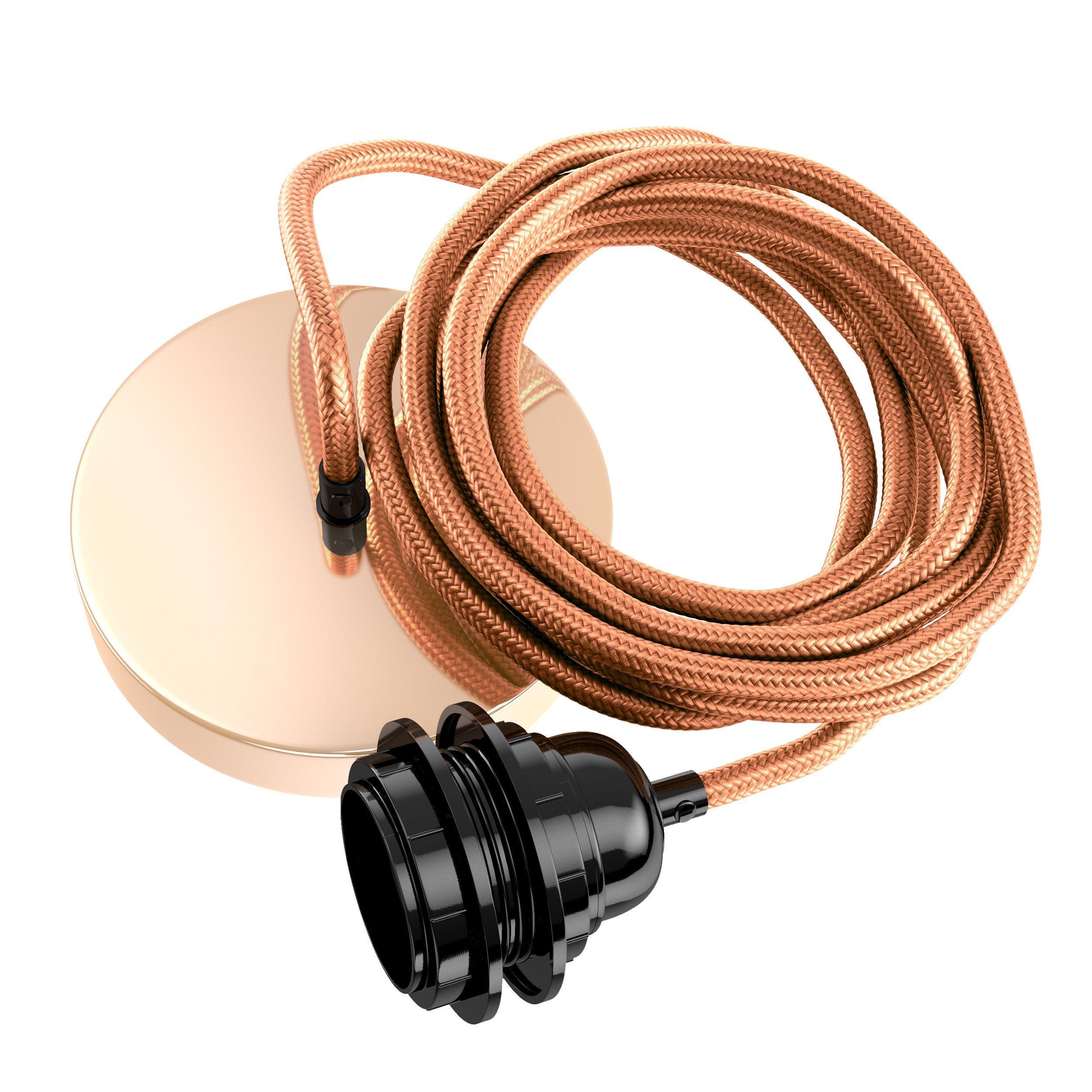 Suspension 1 fil électrique en tissu cuivre 2,5m douille noire