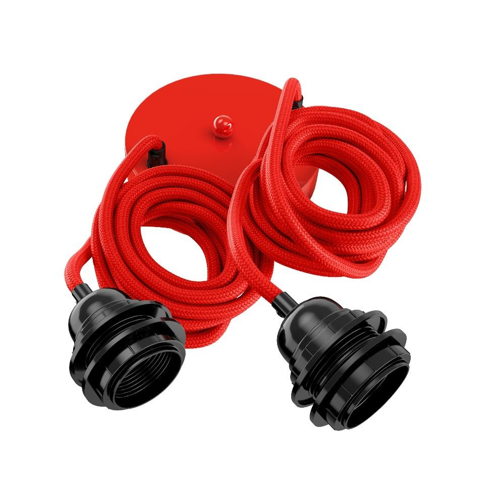 Suspension 2 fils électriques en tissu rouge 2,5m douille noire
