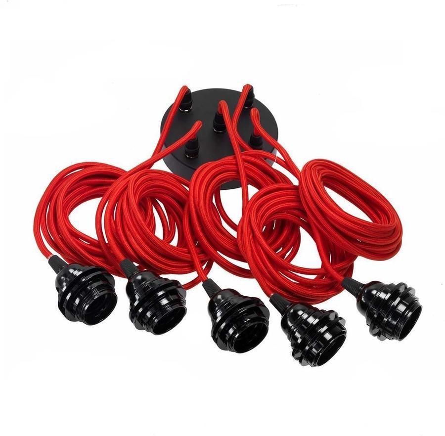 Suspension 5 fils électriques en tissu rouge 3,5m douille noire