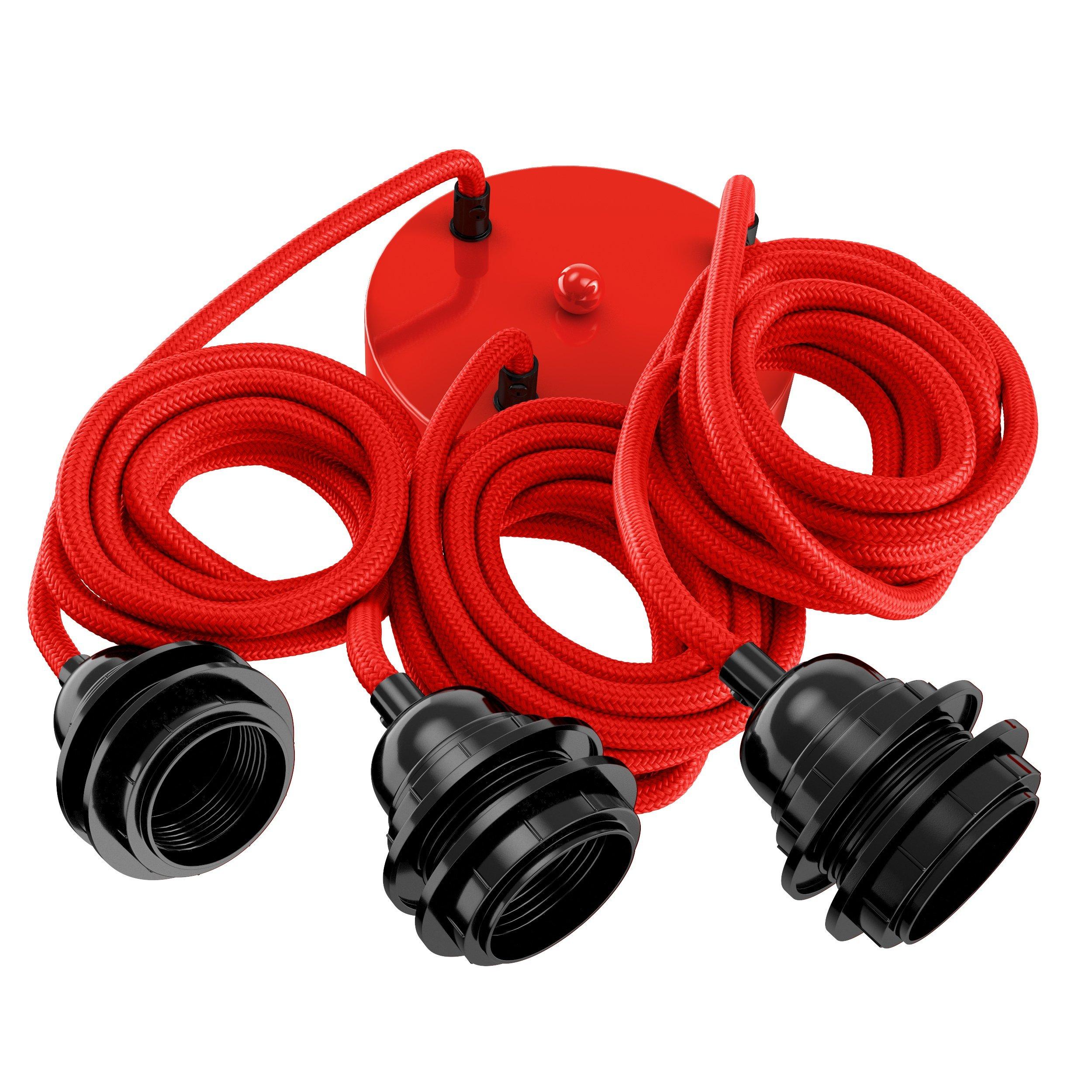 Suspension 3 fils électriques en tissu rouge 2,5m douille noire