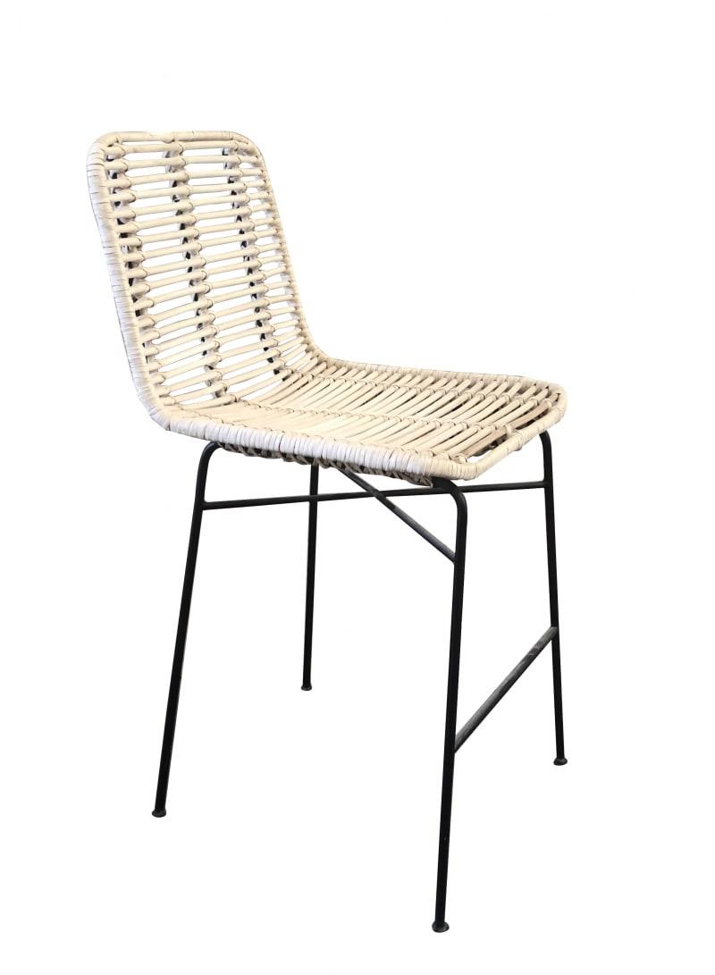 Tabouret / Chaise haute enfant Rotin et pieds métal