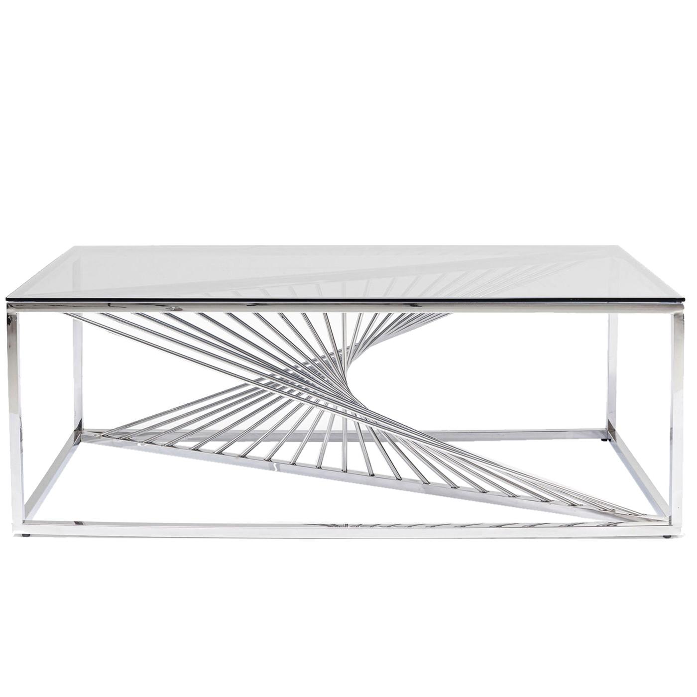 Table basse en verre et acier chromé