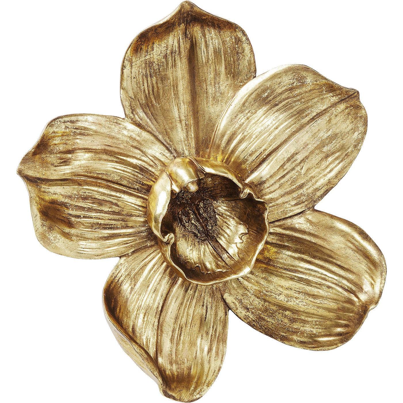 Déco murale orchidée dorée en polyrésine H44