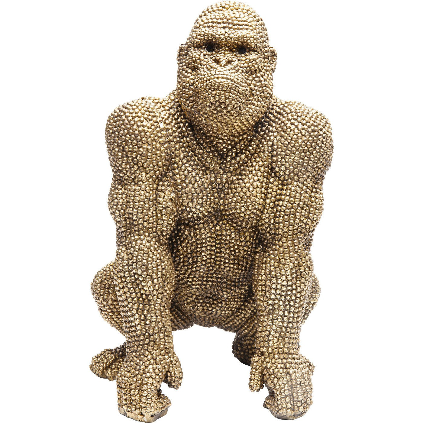 Statuette gorille strass en polyrésine dorée H46