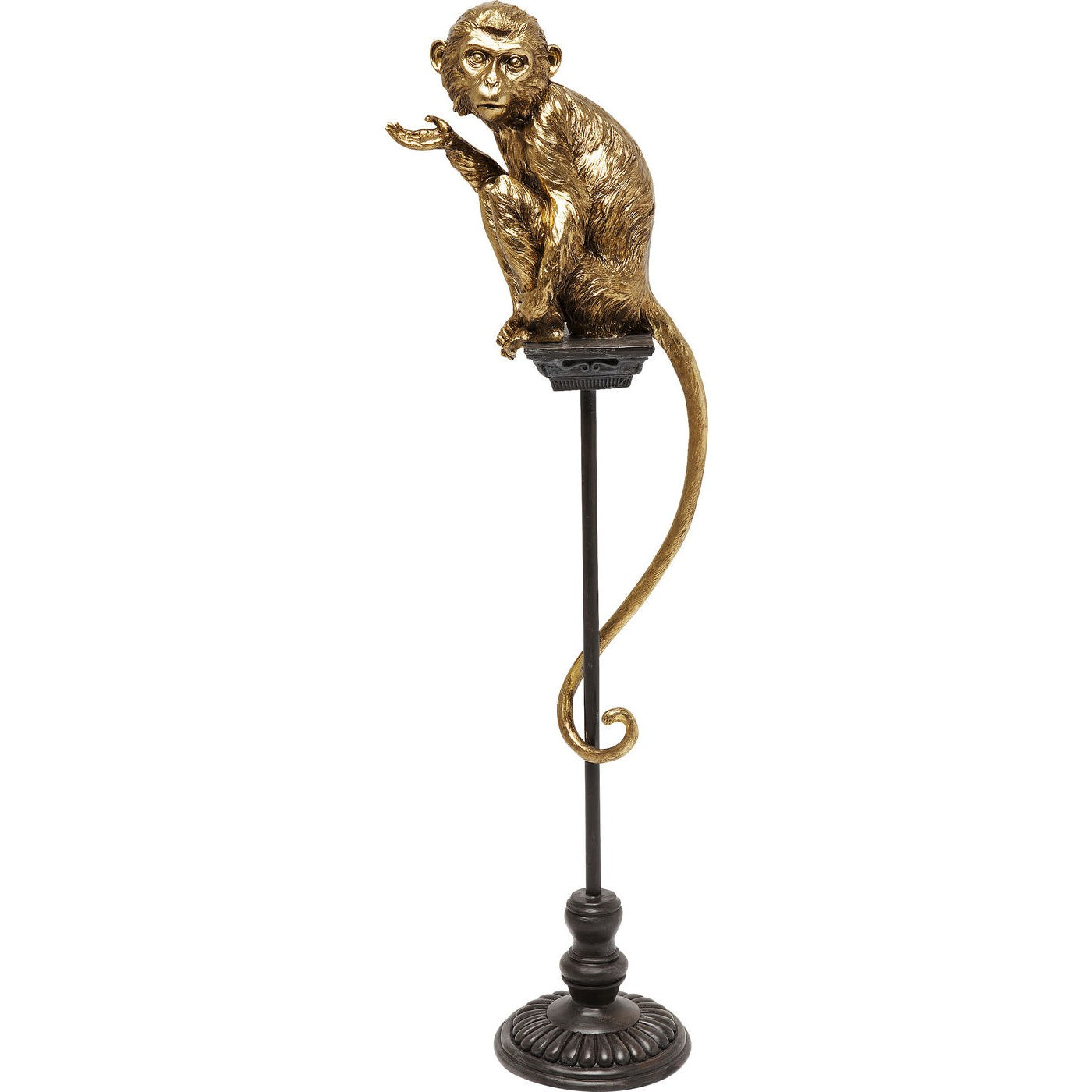Statuette singe perché en polyrésine dorée et acier H109