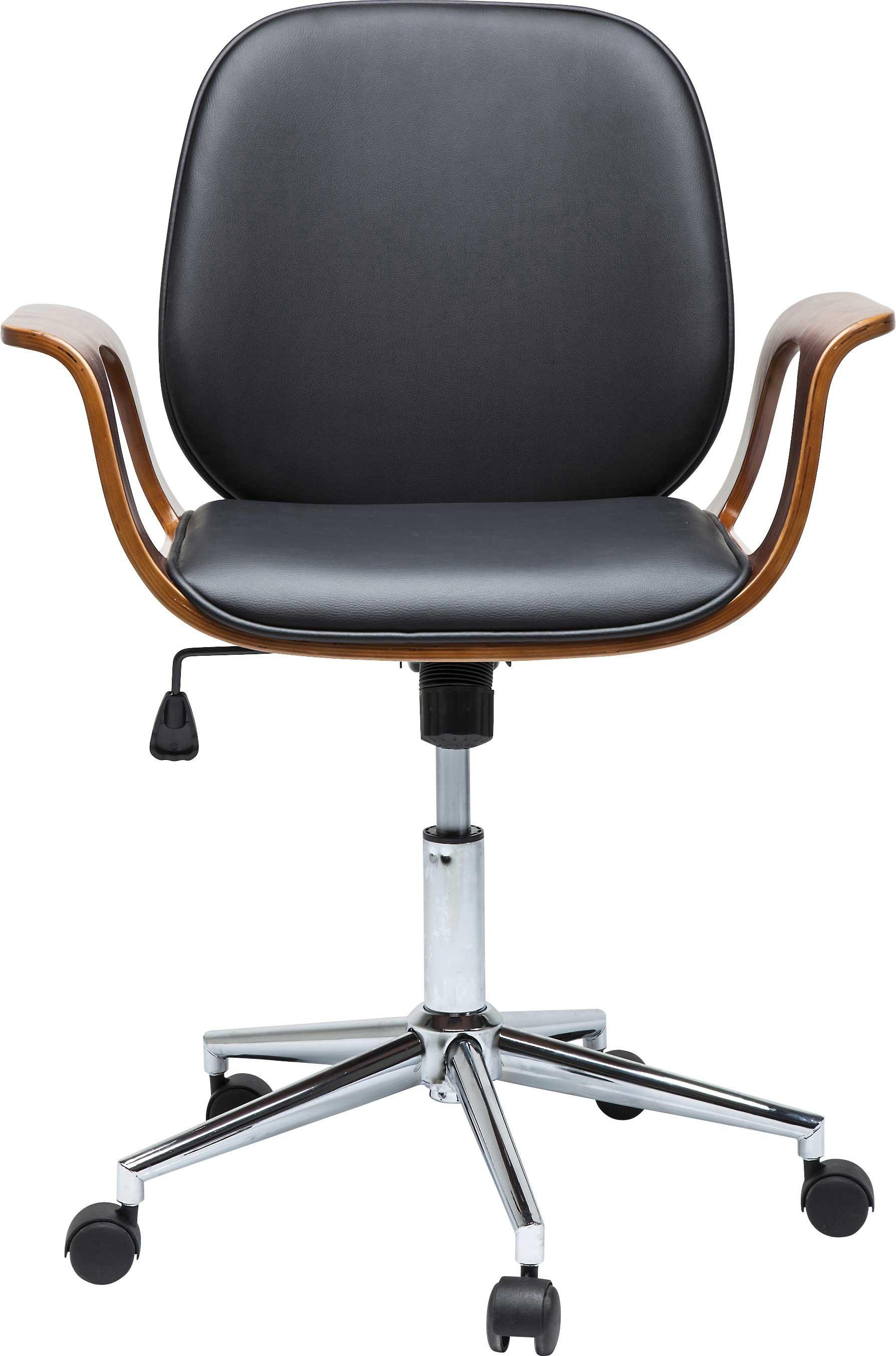 Chaise de bureau pivotante réglable à roulettes noire