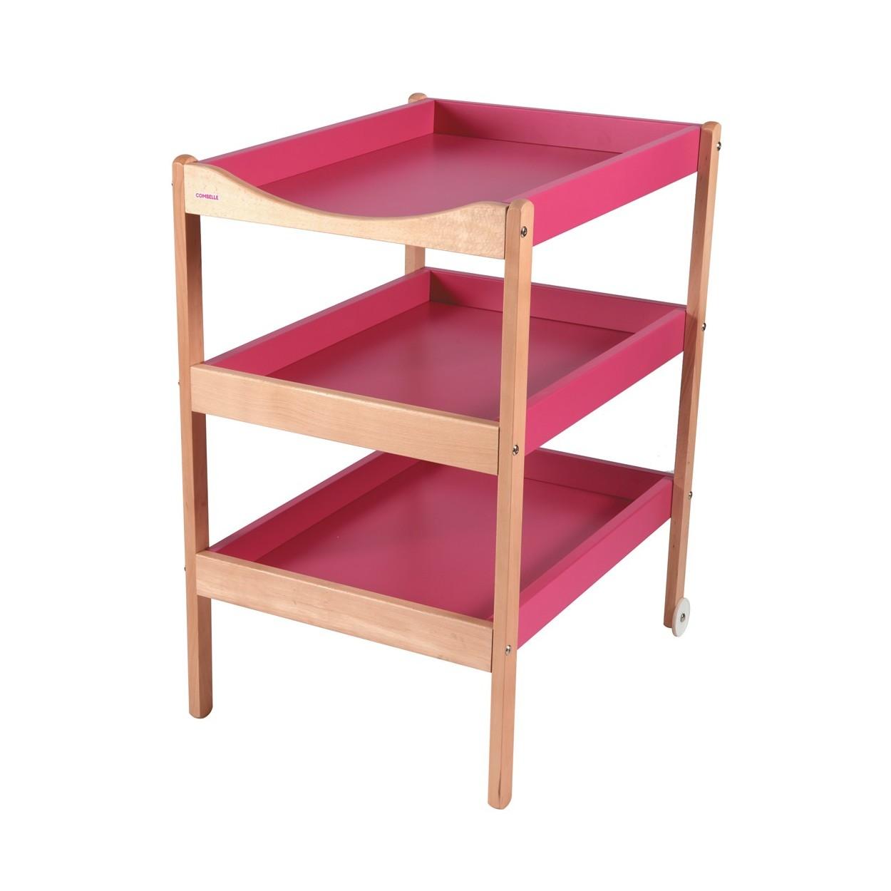 Table à langer  bicolore fuchsia - 72x90x55 cm