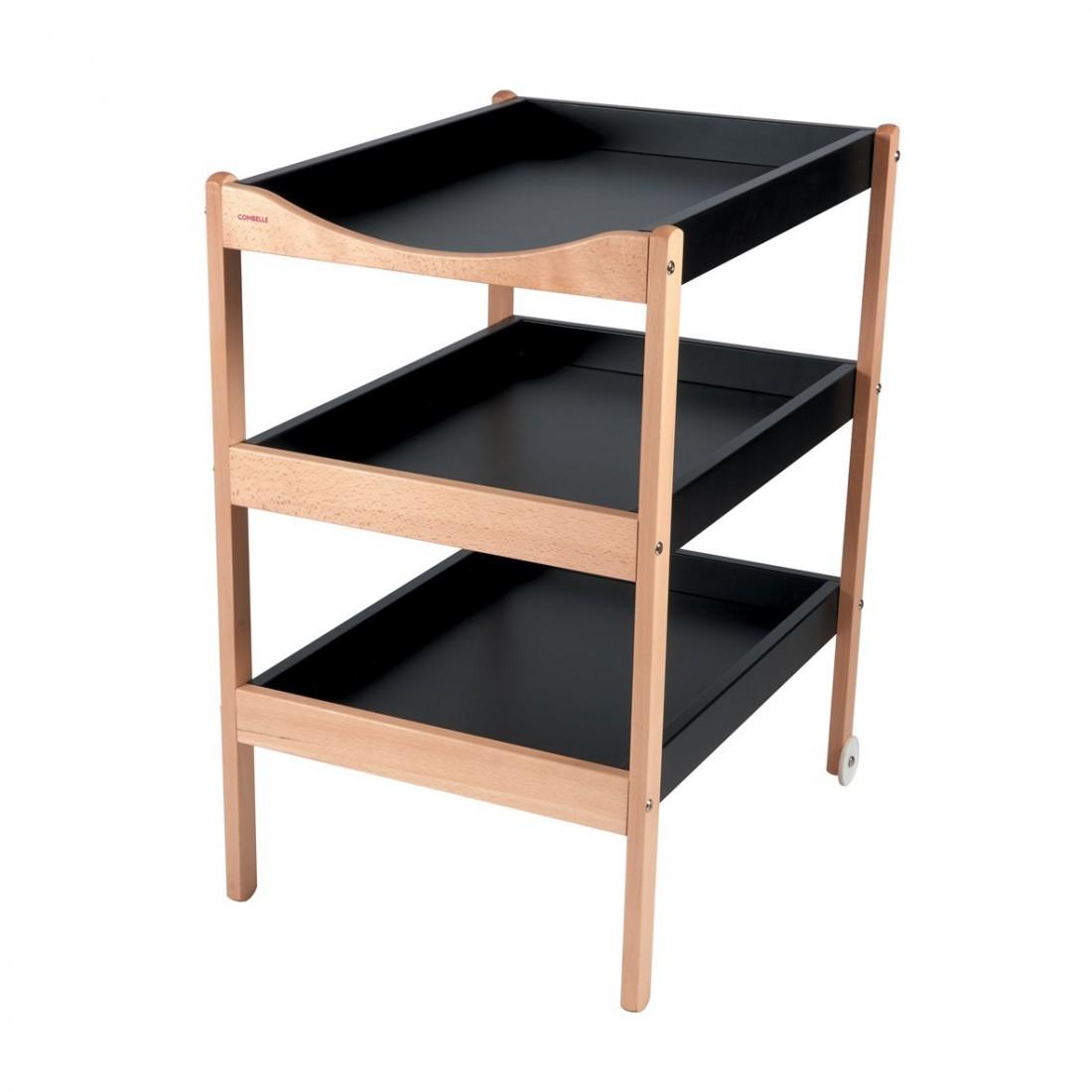 Table à langer  bicolore noir - 72x90x55 cm