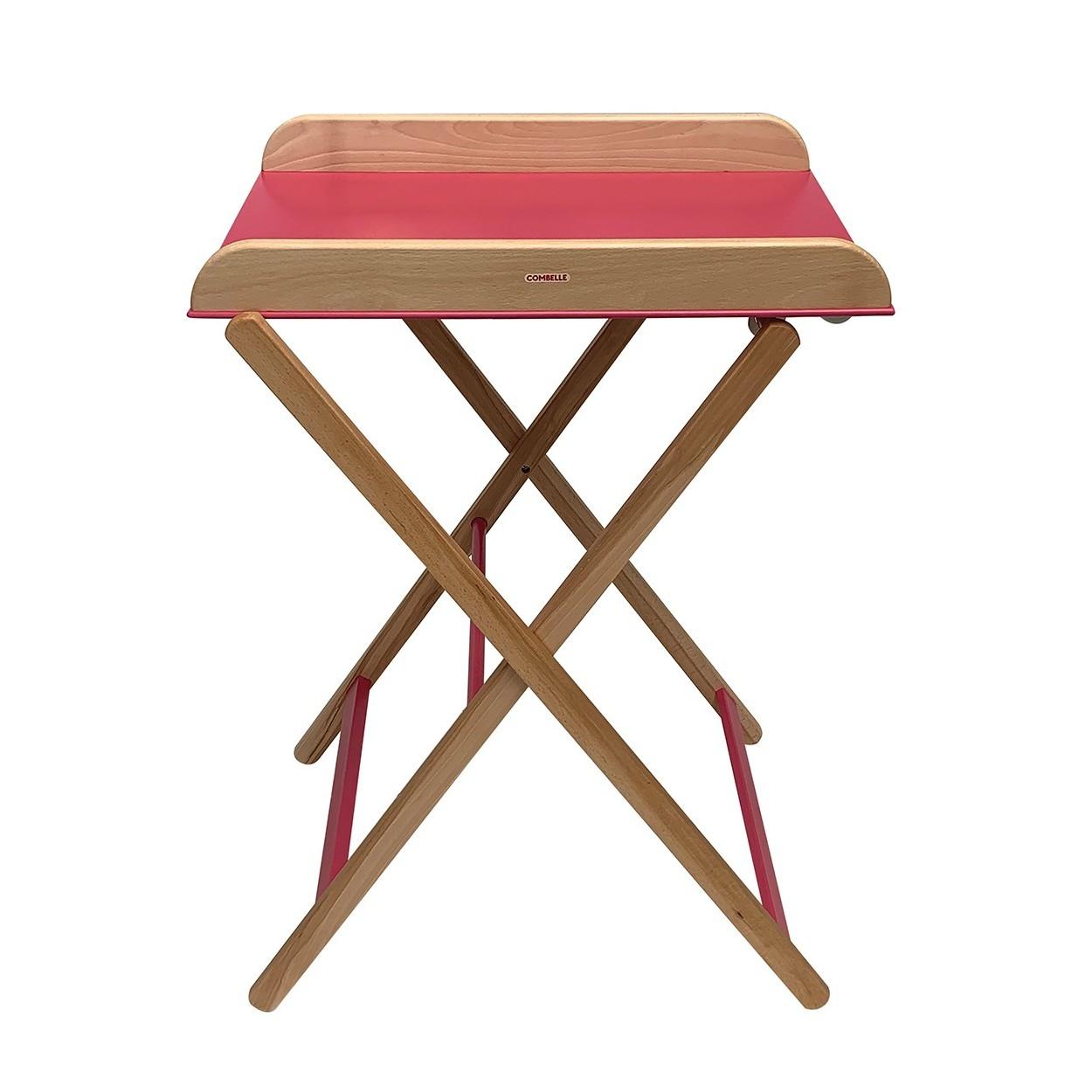 Table à langer  pliante bicolore fuchsia - 82x87x55 cm