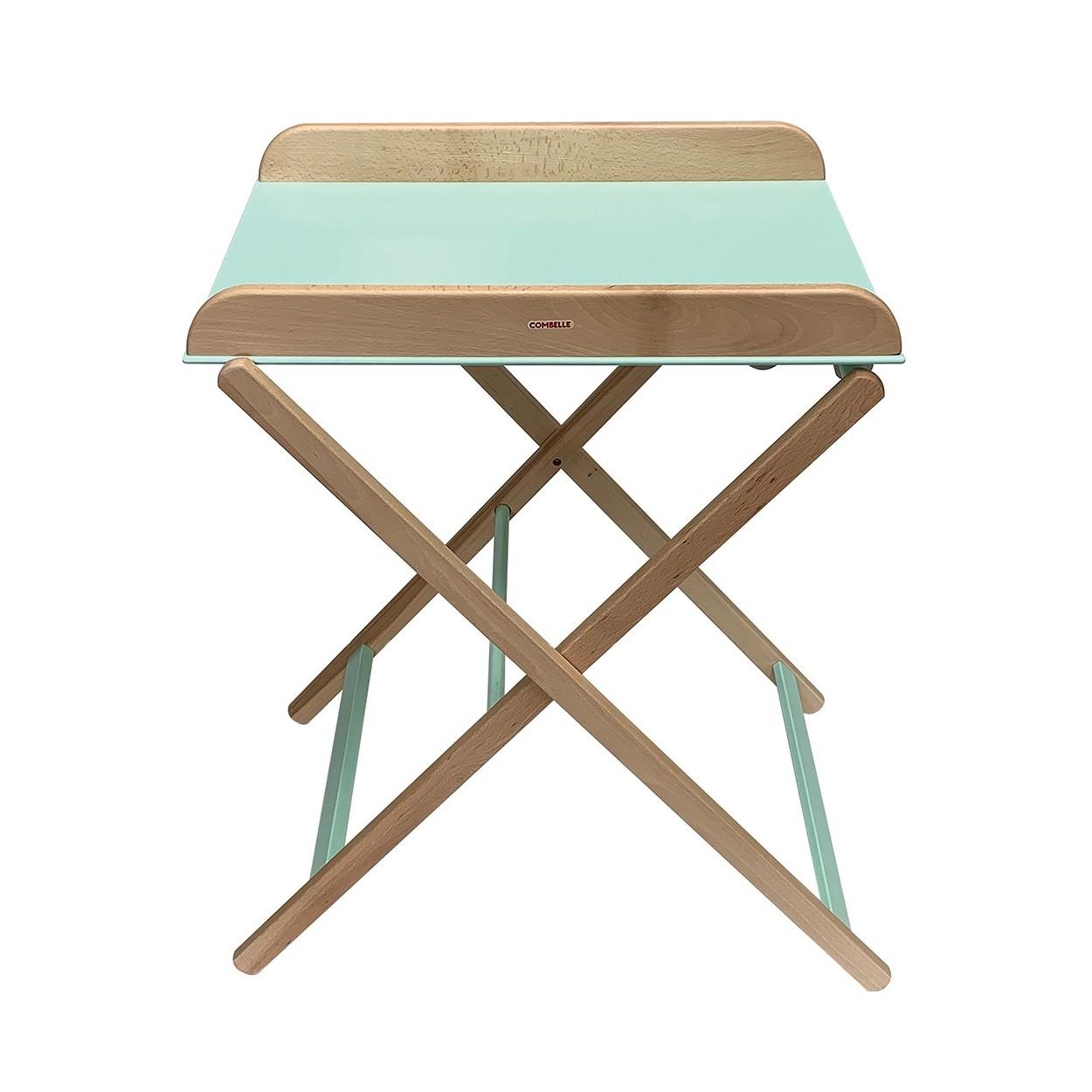 Table à langer  pliante bicolore vert menthe - 82x87x55 cm