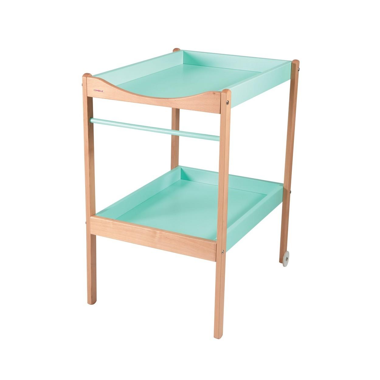 Table à langer  bicolore vert menthe - 72x90x55 cm