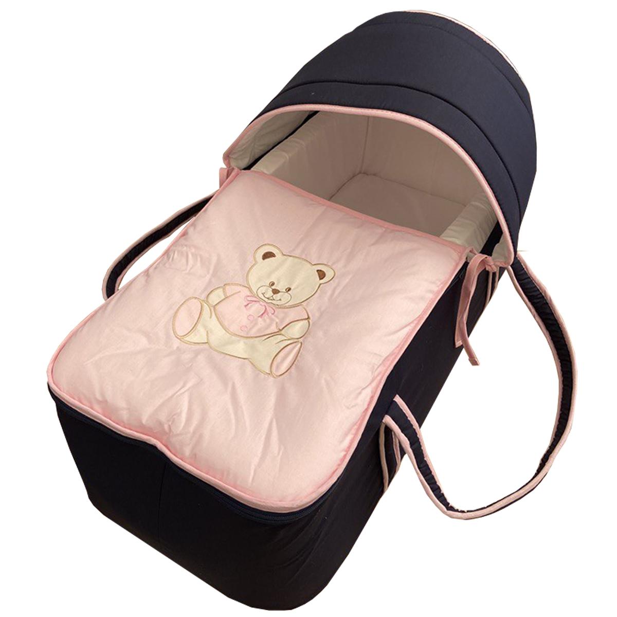 Couffin pour bébé bleu nuit et rose motif nounours