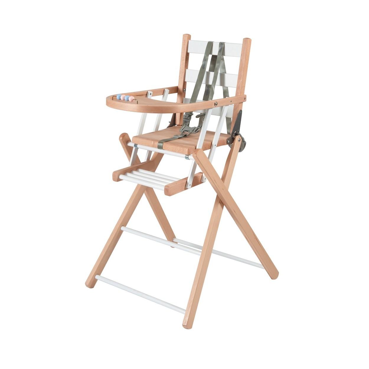 Chaise haute bébé pliante en bois  bicolore blanc - 57x95 cm