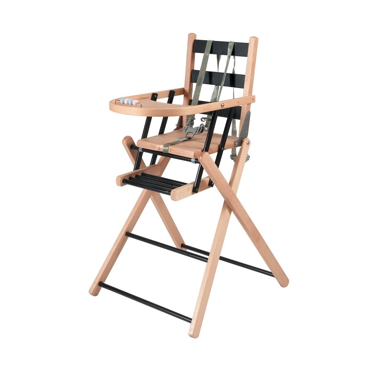 Chaise haute bébé pliante en bois  bicolore noir - 57x95 cm
