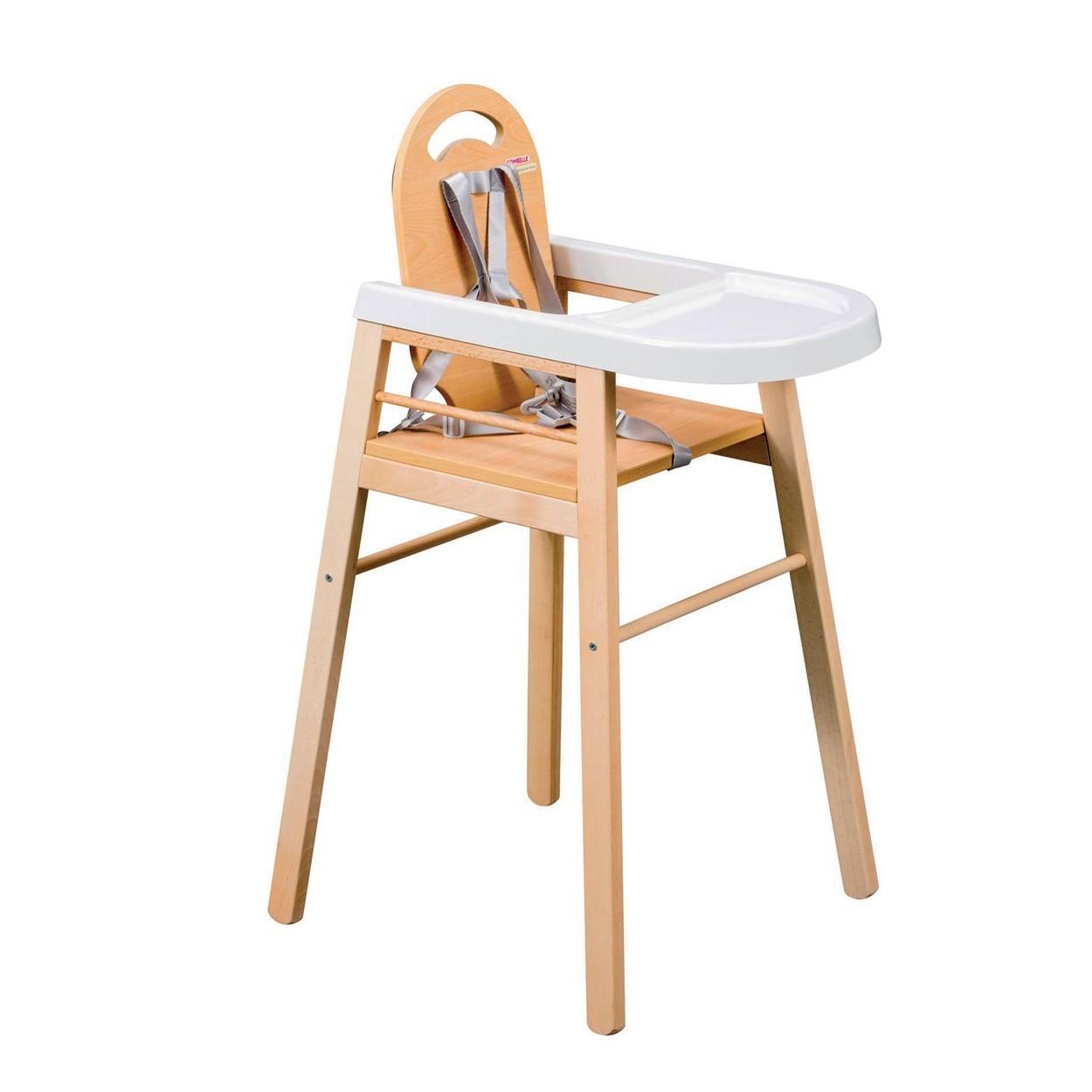 Chaise haute bébé  vernis naturel - 52x96 cm