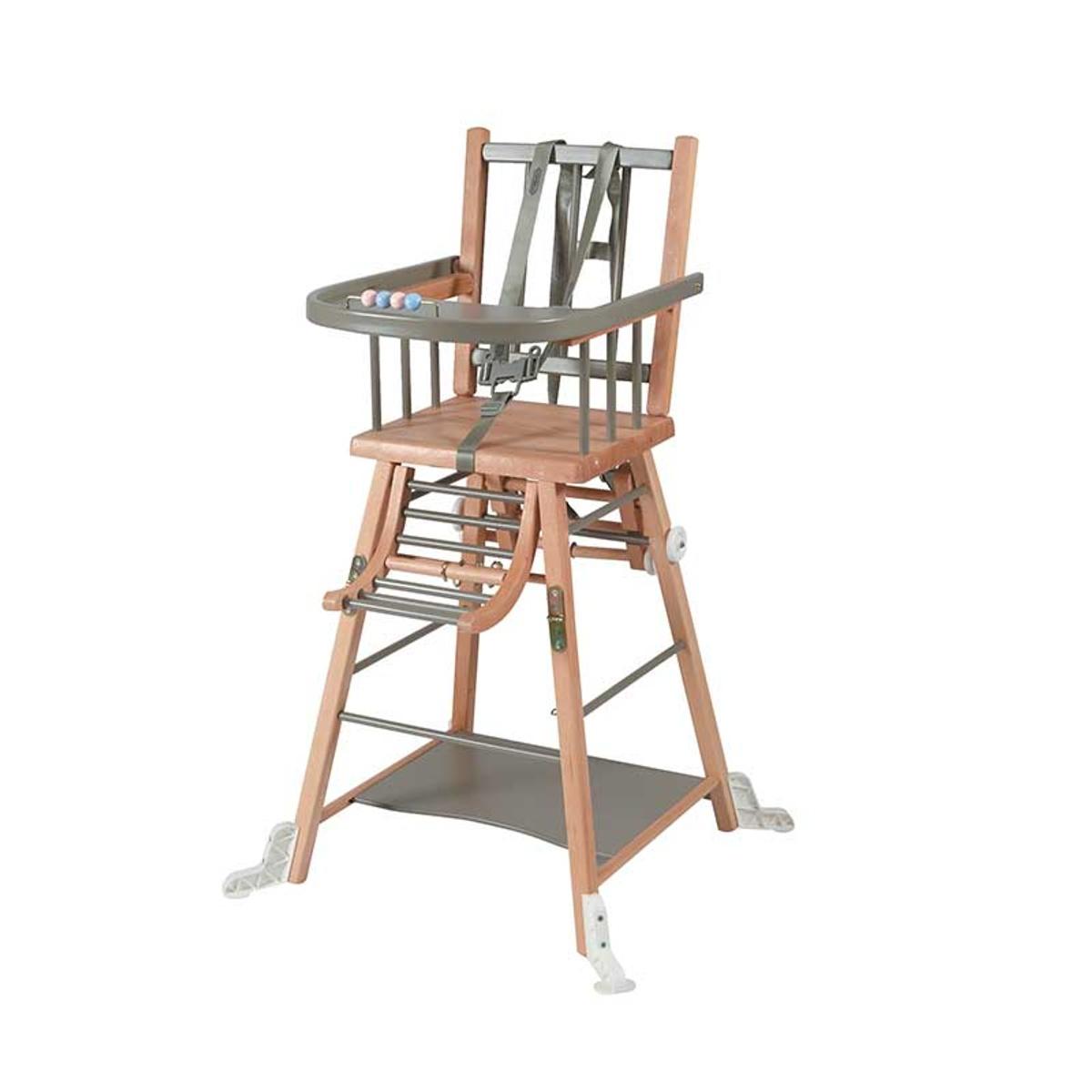 Chaise haute bébé en bois  bicolore gris - 57x95 cm