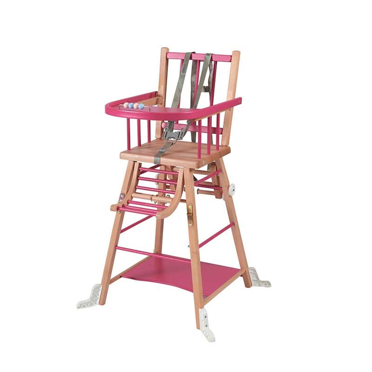 Chaise haute bébé en bois  bicolore fuchsia - 57x95 cm