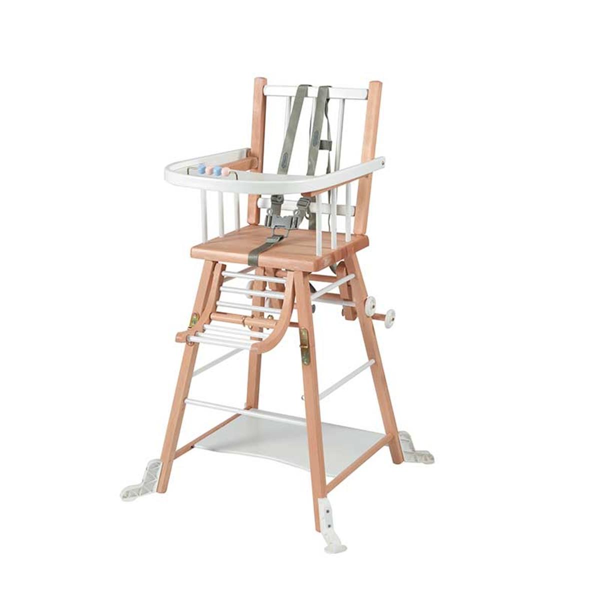 Chaise haute bébé en bois  bicolore blanc - 57x95 cm