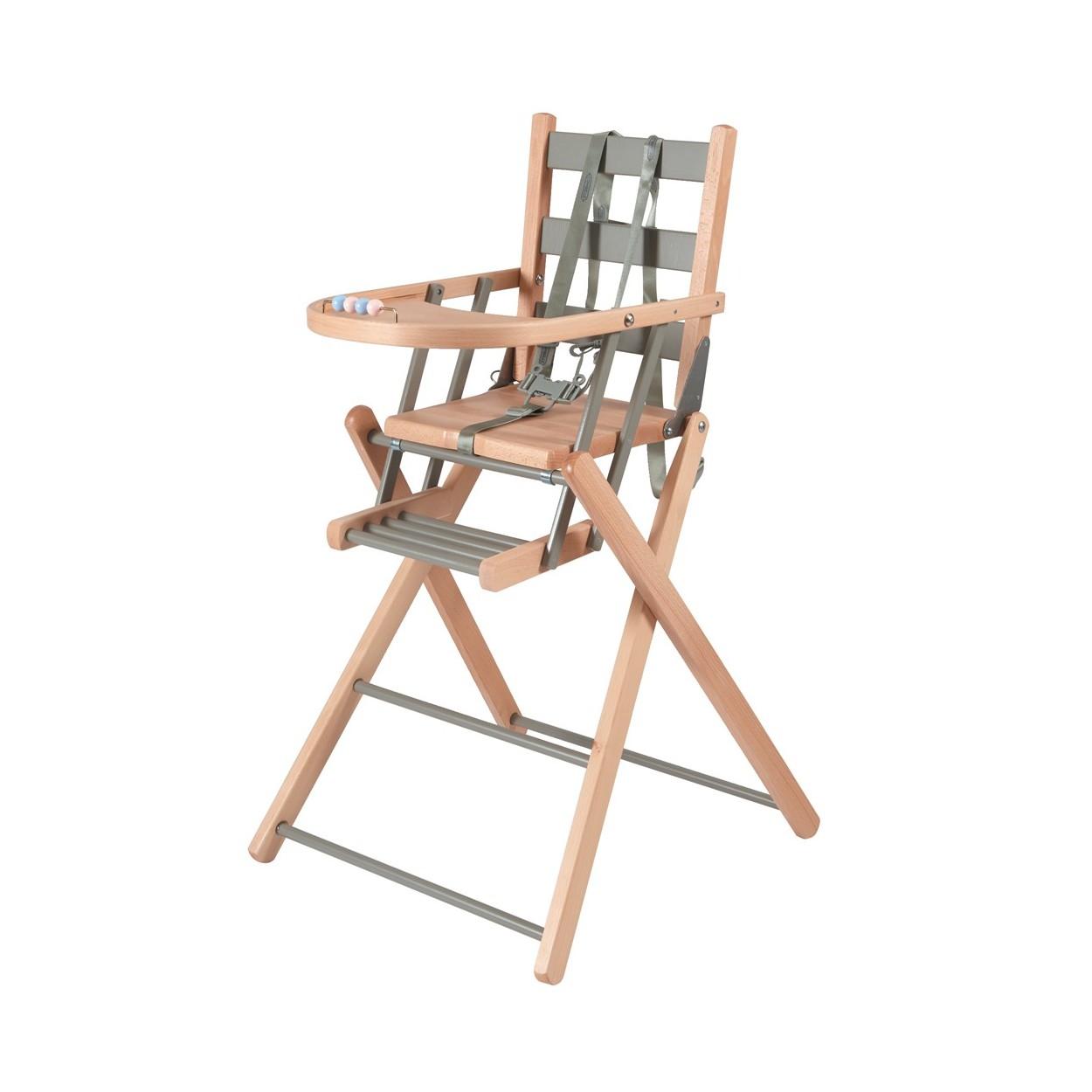 Chaise haute bébé pliante en bois  bicolore gris - 57x95 cm