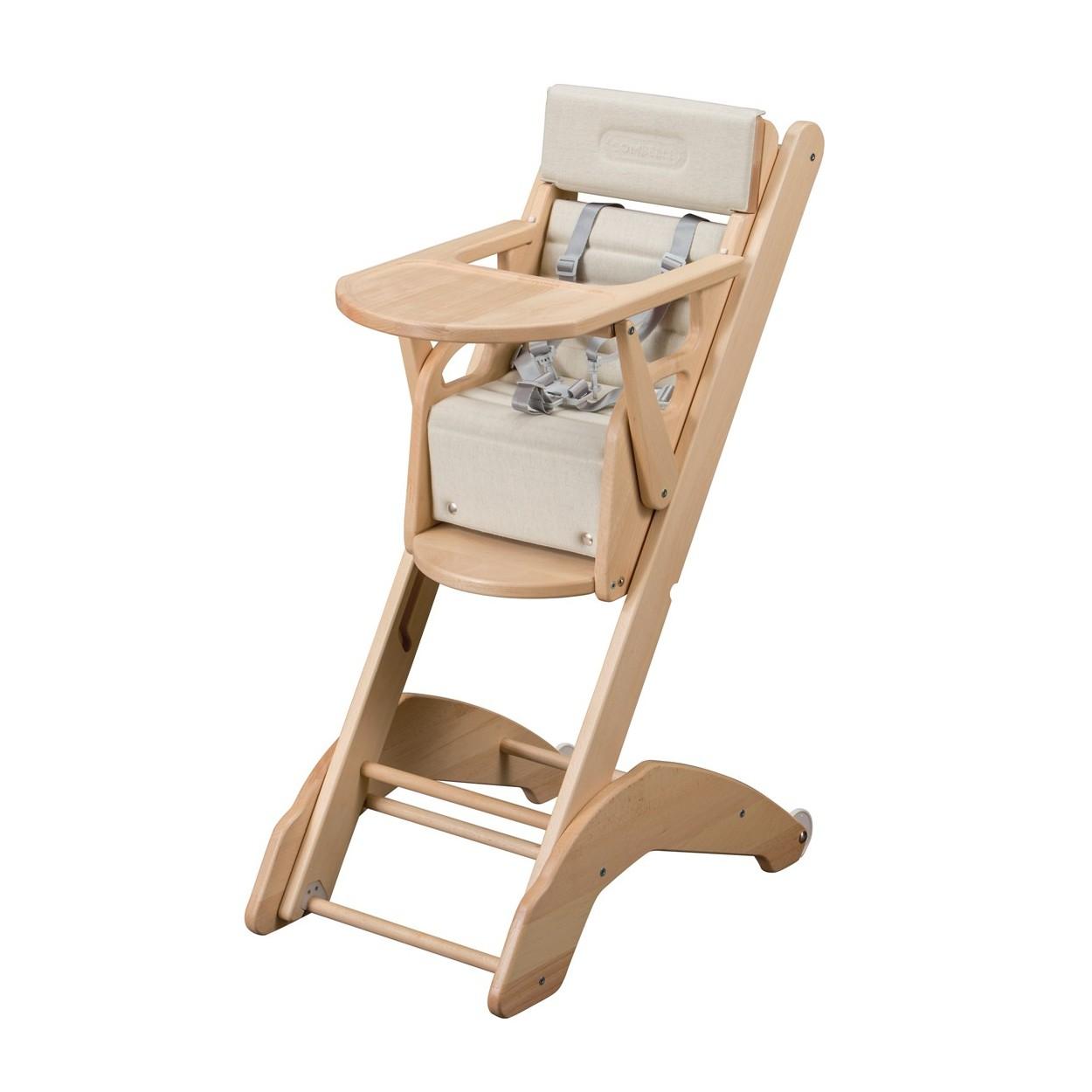 Chaise haute bébé évolutive  vernis naturel - 41x97 cm
