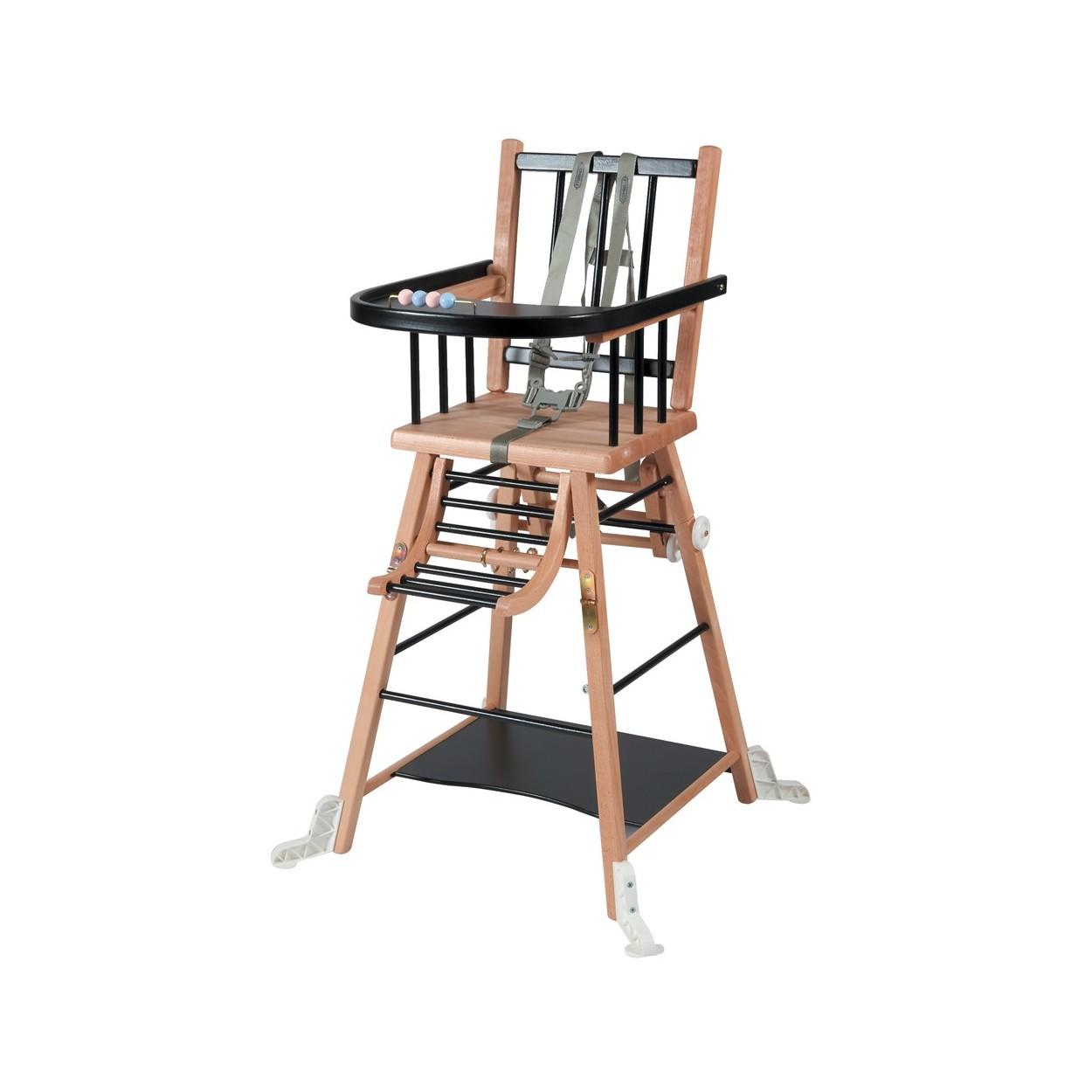 Chaise haute bébé en bois  bicolore noir - 57x95 cm