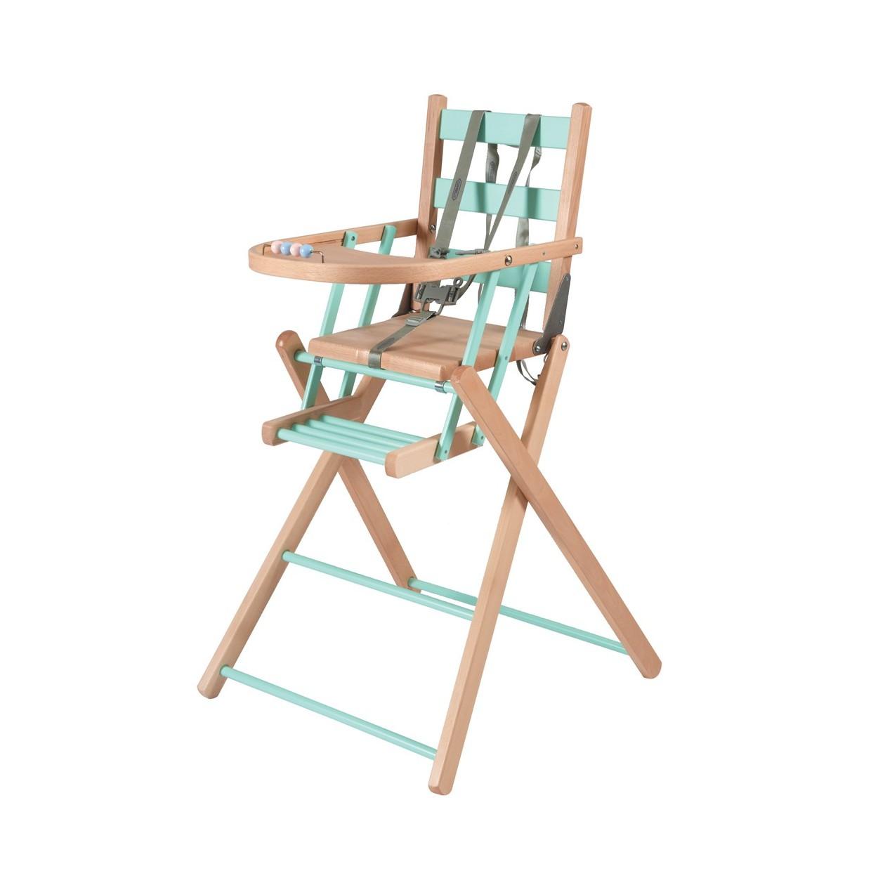 Chaise haute bébé pliante en bois  bicolore vert menthe - 57x95 cm