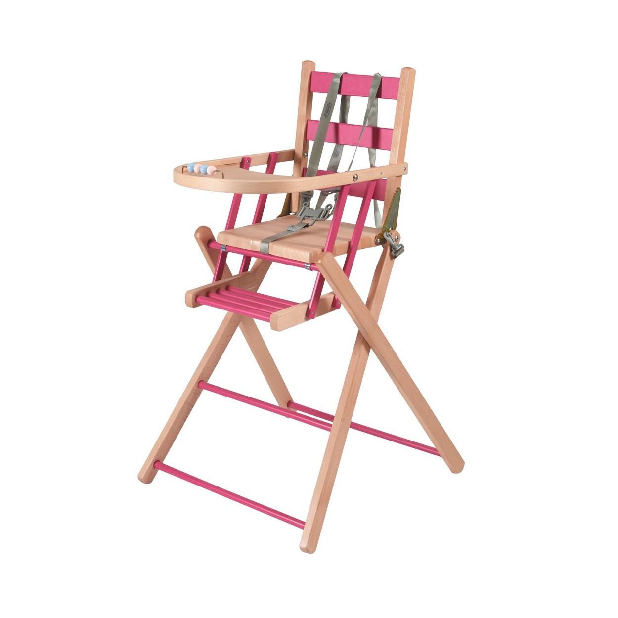 Chaise haute bébé pliante en bois  bicolore fuchsia - 57x95 cm