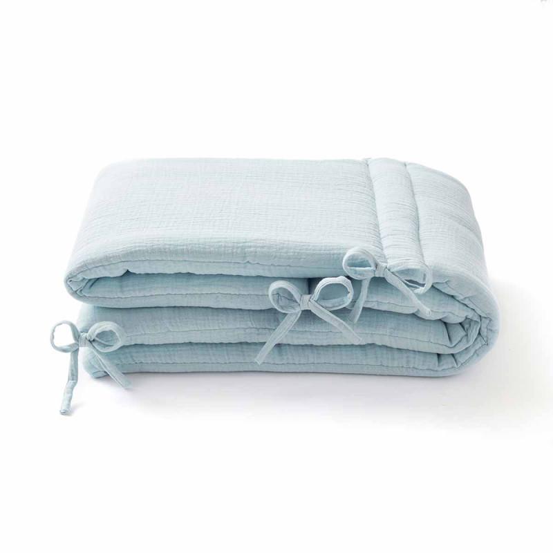 Tour de lit en gaze de coton bleu glacier