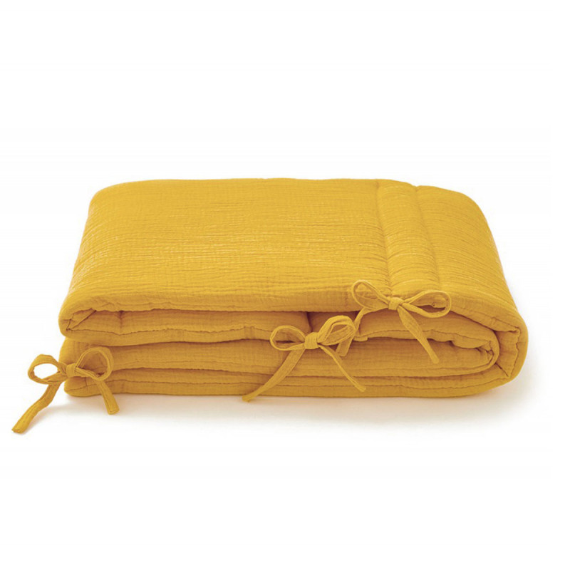 Tour de lit en gaze de coton moutarde