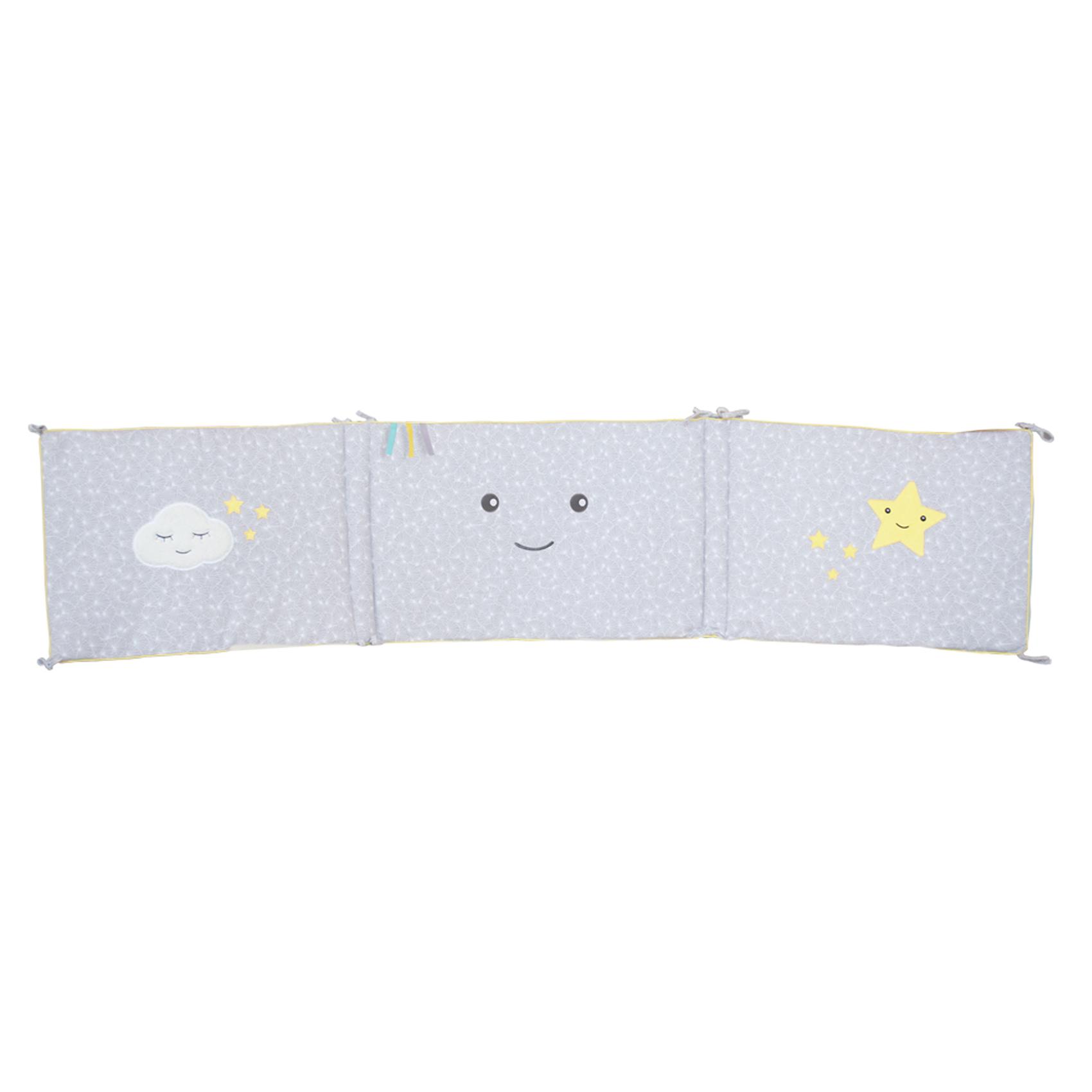 Tour de lit bébé réversible Demi Lune coton Anis/Gris