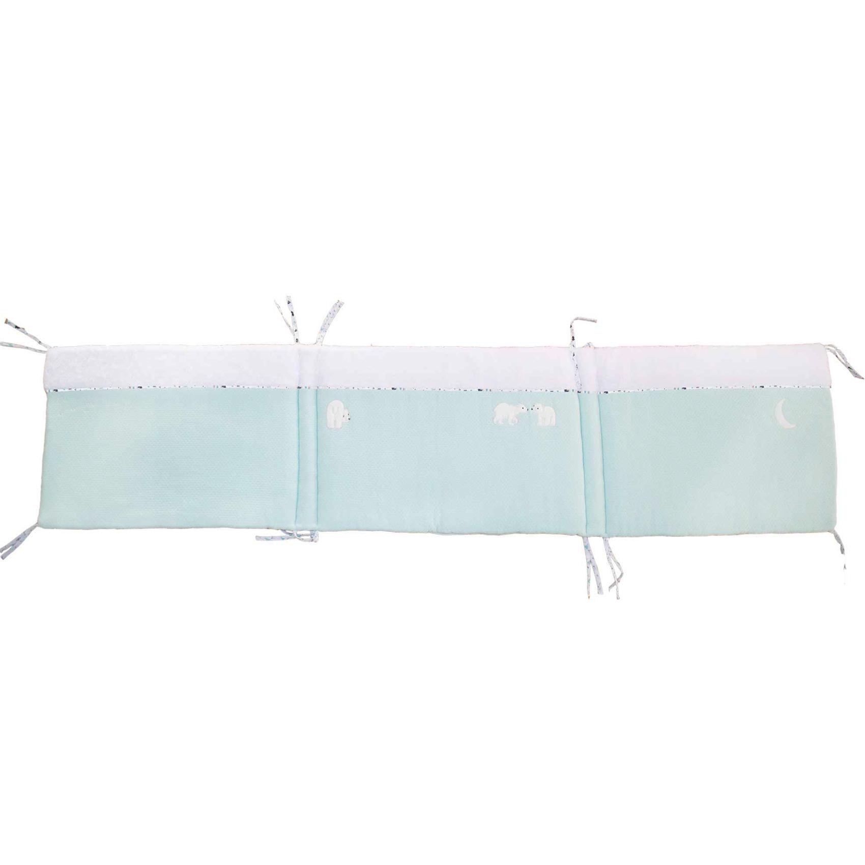Tour de lit bébé adaptable Boréale Blanc/Aqua 40x180