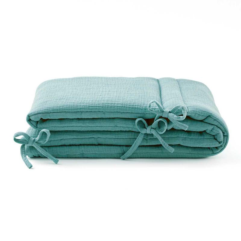 Tour de lit en gaze de coton vert eucalyptus