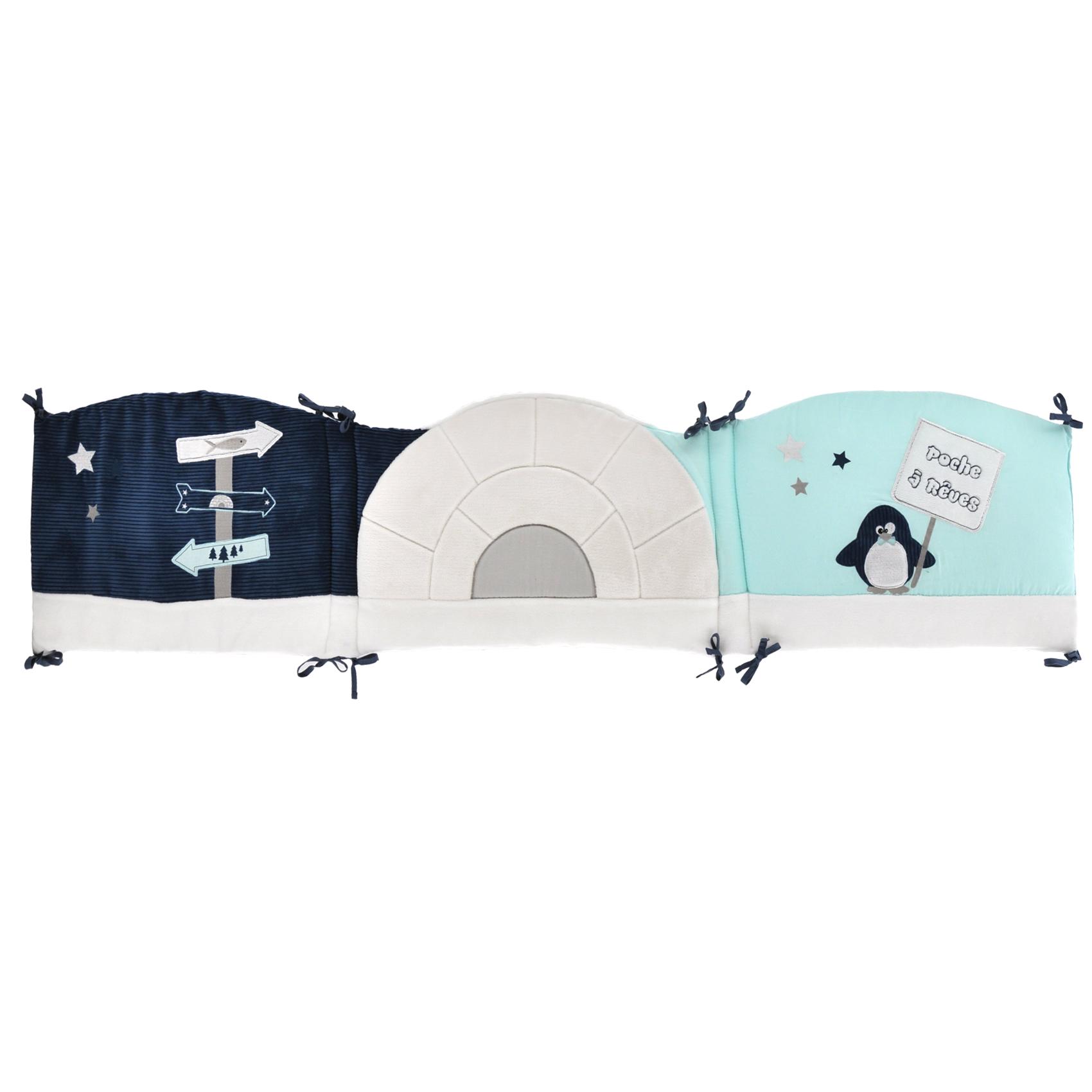 Tour de lit bébé Pingou en velours Bleu 40x180