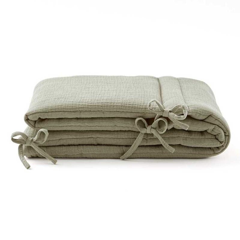 Tour de lit en gaze de coton vert sauge