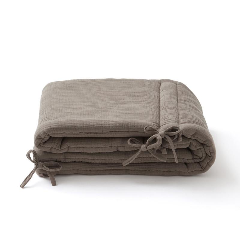 Tour de lit en double gaze de coton taupe