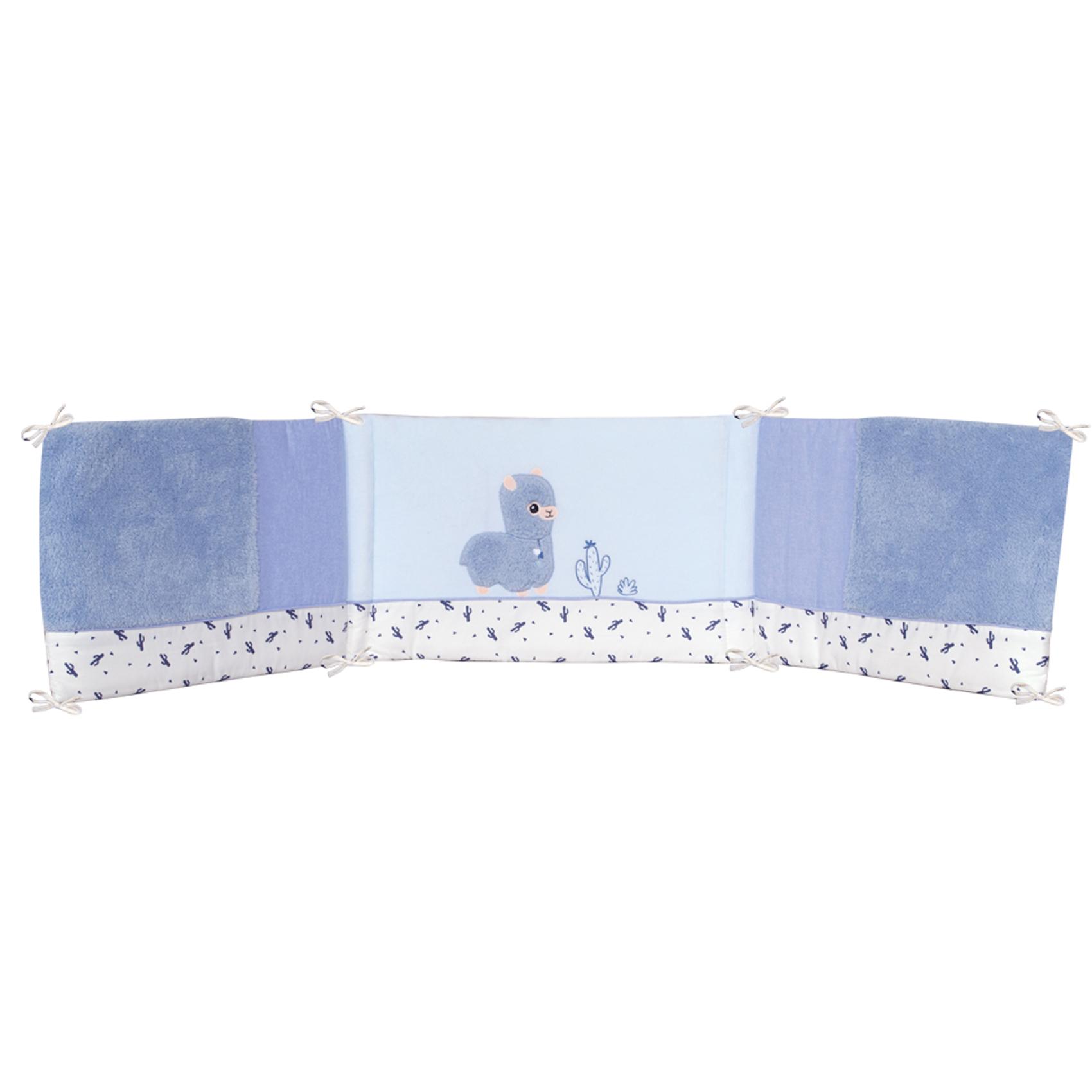 Tour de lit bébé adaptable Diego microfibre Bleu 40x180