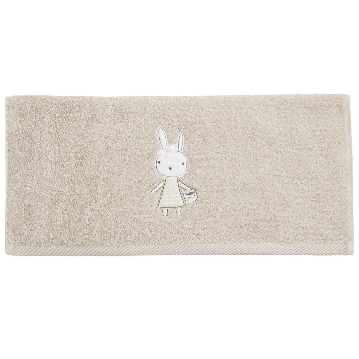 Serviette de toilette enfant  coton sable 50x90