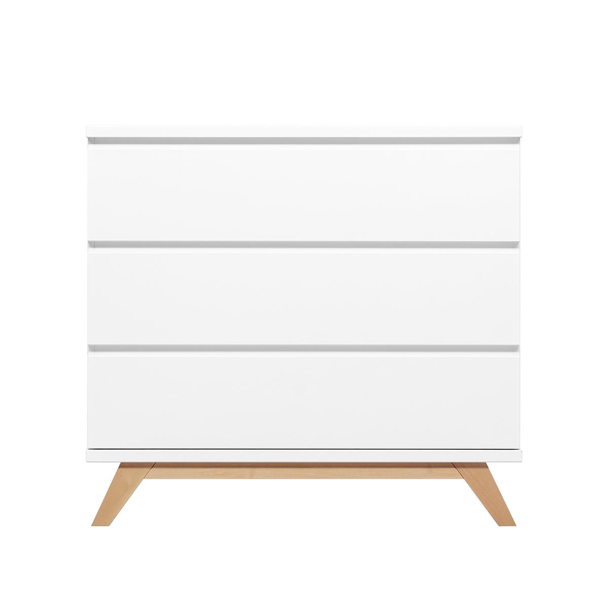 Commode 3 tiroirs blanc bois