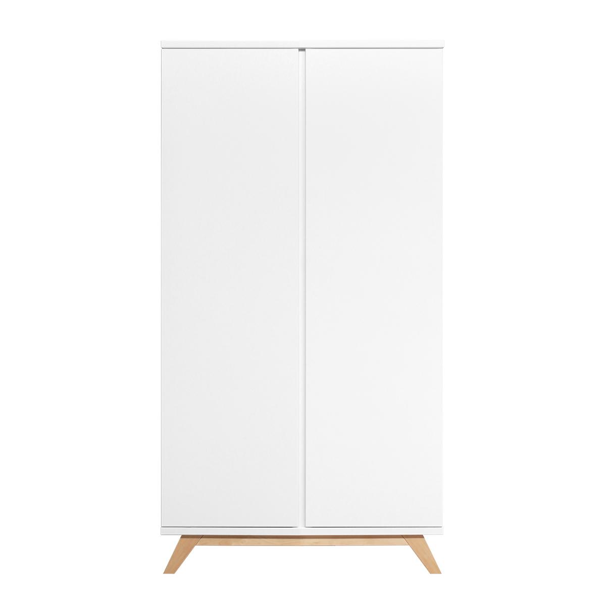 Armoire 2 portes blanc bois